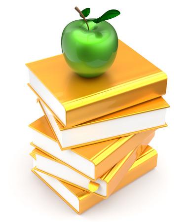 conocimiento: Libros oro pila manzana amarilla educaci�n golden estudiar lectura escuela de aprendizaje de conocimientos biblioteca idea literatura icono de concepto. 3d render aislado en blanco