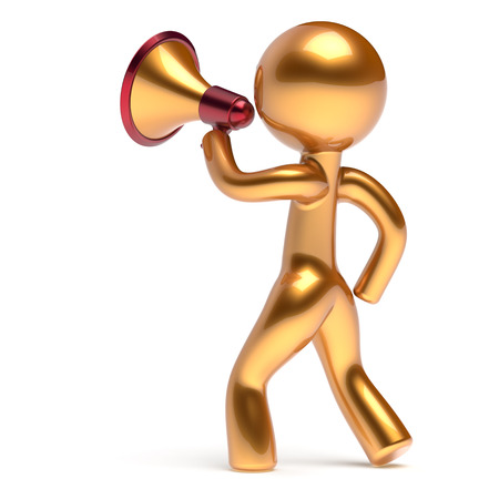 communication cartoon: Megaphone character man speaking making announcement news golden stylized human cartoon guy speaker person communication people yellow speaker figure icon concept 3d render isolated Stock Photo