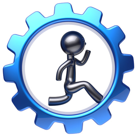 worker person: Gear wheel cartoon guy running business man character run inside rotate cogwheel stylized human hamster person worker blue gearwheel business career employment concept. 3d render isolated on white Stock Photo