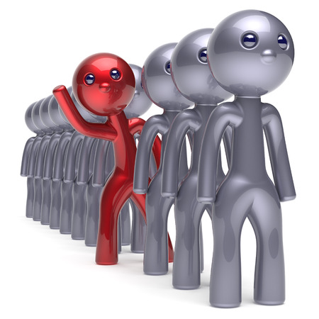 differ: Individuality man character stand out from the crowd men stylized different people unique red think differ person otherwise hello new opportunities concept human resources hr icon 3d render isolated