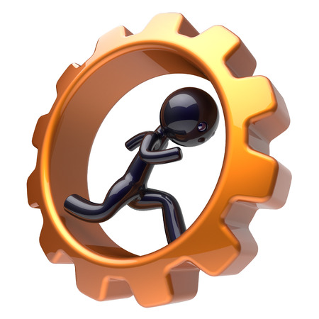 rotate icon: Man character inside gear wheel running businessman rotate cogwheel stylized black human cartoon guy hamster person worker gearwheel business career employment activity concept. 3d render isolated