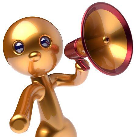 communication cartoon: Man megaphone character promotion speaking stylized making sale advertisement announcement news golden human cartoon guy speaker person communication people shout figure icon concept 3d render