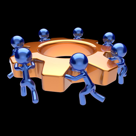 black business men: Teamwork cogwheel business process team work men workers turning gear wheel gearwheel together partnership manpower characters cooperation make efficiency concept. 3d render isolated on black Stock Photo
