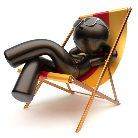 carefree: Man relaxing carefree chilling beach deck chair sunglasses summer outdoor comfort stylized cartoon black character sun lounger chaise lounge sunbathing rest vacation holiday icon 3d render isolated