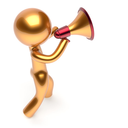 communication cartoon: Bullhorn man character speaking megaphone making sale announcement news golden stylized human cartoon guy speaker person communication people figure icon concept 3d render isolated