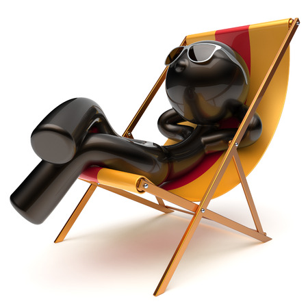 carefree: Chilling relaxing carefree man sunburn beach deck chair sunglasses summer comfort cartoon stylized black character sun lounger chaise lounge tourist person sunbathing vacation harmony icon 3d render