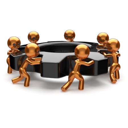 business leadership: Teamwork community black gearwheel business men partnership characters turning gear wheel together team cogwheel brainstorming process cooperation hard work efficiency unity concept 3d render isolated