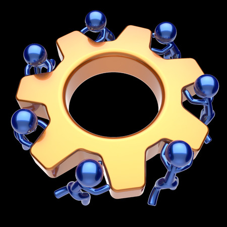 black business men: Men characters teamwork gear wheel cogwheel business process team work workers turning gearwheel together partnership manpower characters cooperation make efficiency icon. 3d render isolated on black