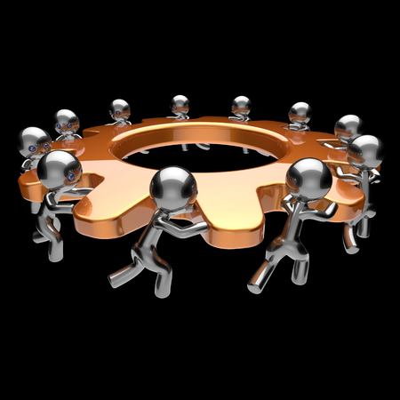 black business men: Gear wheel teamwork turning gearwheel action team work hard business process men characters cogwheel together brainstorming partnership cooperation human resources concept. 3d render isolated on black