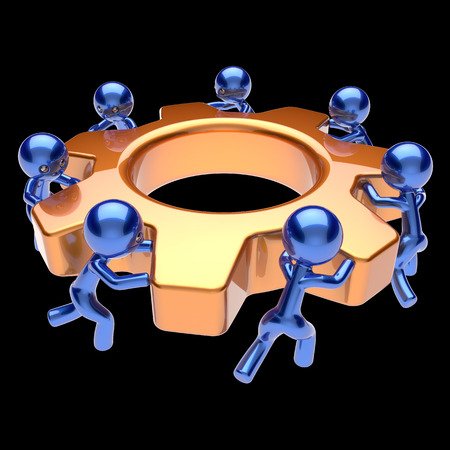 team cooperation: Gear wheel teamwork cogwheel business process team work men workers turning gearwheel together partnership manpower characters cooperation community make easy concept 3d render isolated on black