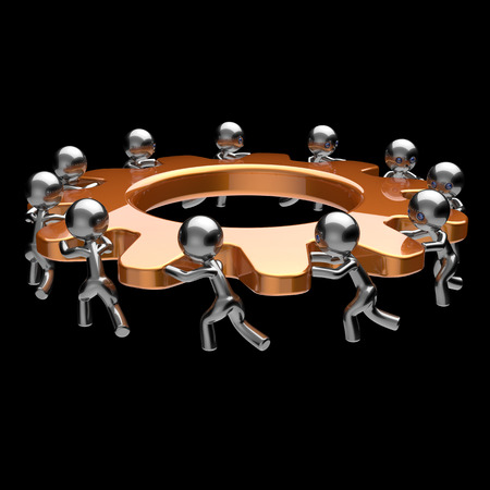 team cooperation: Teamwork business process men characters turning gear wheel action team work hard cogwheel together brainstorming partnership cooperation gearwheel human resources concept. 3d render isolated on black