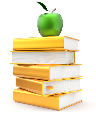golden rule: Books literature golden yellow textbook stack apple green education studying reading learning school library knowledge idea icon concept. 3d render isolated on white