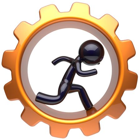 worker person: Man character inside gear wheel running businessman rotate cogwheel stylized black human cartoon guy hamster person worker gearwheel business career employment job hard concept. 3d render isolated