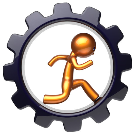 worker person: Gear wheel man character running inside gearwheel business hard work stylized golden human cartoon guy person worker black cogwheel businessman career employment job concept. 3d render isolated