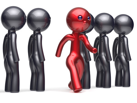differ: Unusual different unique people character stand out from crowd individuality red man think differ person otherwise run to new opportunities concept confidence human trust vote icon 3d render isolated