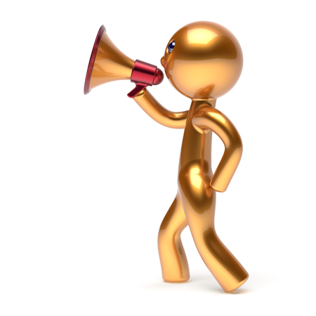 communication cartoon: Man speaking bullhorn megaphone character making announcement news golden stylized human cartoon guy speaker person communication people yellow speaker figure icon concept 3d render isolated