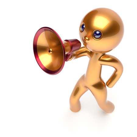 communication cartoon: Man making news announcement megaphone leader character golden stylized human cartoon guy person speaking people communication speaker figure icon concept yellow 3d render isolated
