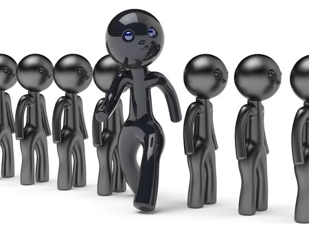 run out: Stand out from crowd different people man giant character black think differ unique person otherwise run to new opportunities concept individuality referendum vote icon 3d render isolated
