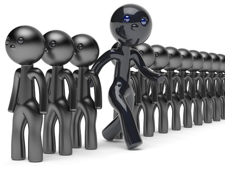 run out: Different people unusual man stand out from crowd giant character black think differ unique person otherwise run to new opportunities concept individuality vote icon 3d render isolated Stock Photo