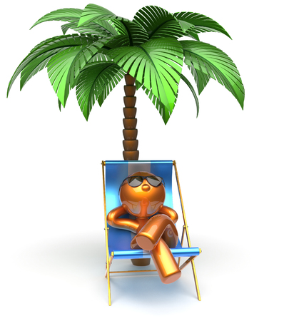 chilling: Chilling beach cartoon character deck chair man relaxing palm tree sunglasses summer comfort stylized golden person sun lounger chaise lounge tourist sunbathing rest vacation holiday icon 3d render
