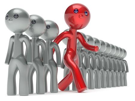 verschillen: Andere man ongebruikelijke karakter unieke mensen individualiteit onderscheiden rood van de menigte denkt verschillen persoon anders uitvoeren om nieuwe kansen begrip referendum pictogram 3D render geïsoleerde