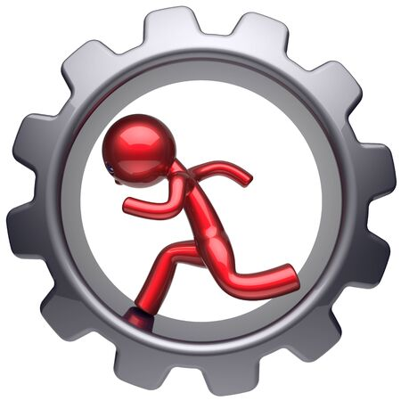 gearwheel: Running business inside gear wheel man stylized red character human rotate cogwheel cartoon guy hamster person worker black gearwheel work employment businessman concept 3d render isolated on white