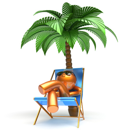 chaise lounge: Man relaxing chilling beach carefree cartoon character deck chair palm tree sunglasses summer comfort stylized golden person sun lounger chaise lounge tourist sunbathing rest vacation icon 3d render