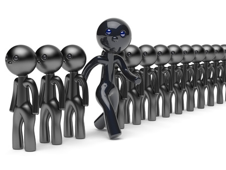 stand out from the crowd: Unusual man different people stand out from crowd giant character black think differ unique person otherwise run to new opportunities concept individuality vote icon 3d render isolated