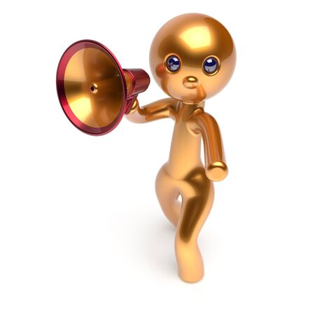 guy person: Announcement news megaphone bullhorn man character golden speaking making sale stylized human cartoon guy speaker person communication people shout figure icon concept 3d render isolated