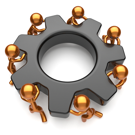 black business men: Partnership team gearwheel men characters teamwork business process workers turning cogwheel black gear wheel together cooperation relationship community make work easy concept 3d render isolated