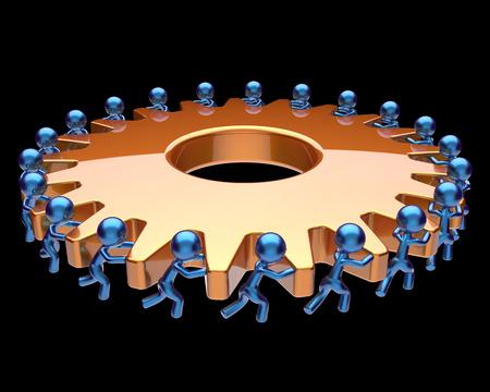 black business men: Teamwork partnership gearwheel cogwheel characters business process team work men workers turning gear wheel together manpower cooperation make efficiency concept. 3d render isolated on black