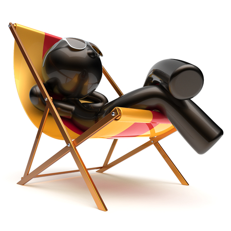 outdoor chair: Man relaxing beach deck chair carefree chilling sunglasses summer outdoor comfort cartoon black character stylized sun lounger chaise lounge sunbathing rest vacation holiday icon 3d render isolated