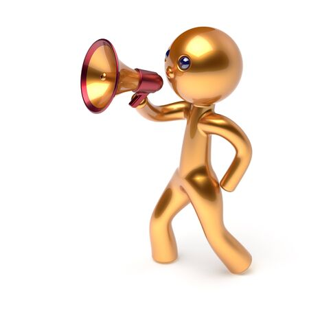 making an announcement: Megaphone character man speaking bullhorn making announcement news golden stylized human cartoon guy speaker person communication people yellow speaker figure icon concept 3d render isolated