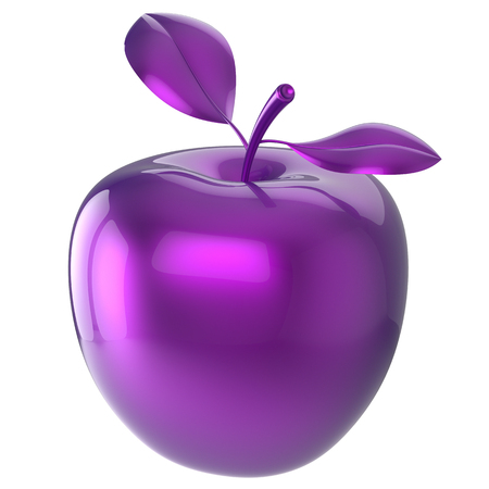 nutrition icon: Purple apple food blue research experiment nutrition fruit antioxidant fresh ripe exotic danger poison anomaly unusual agriculture organic funny icon. 3d render isolated on white background
