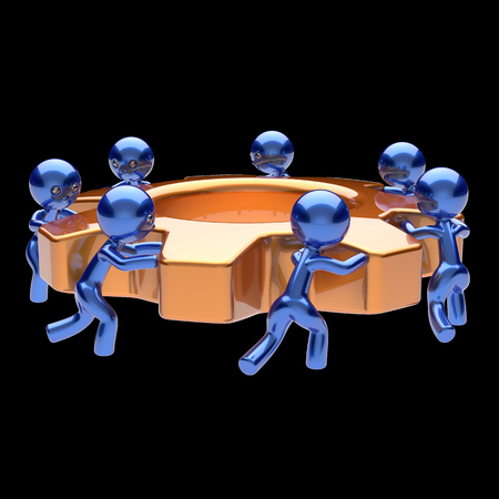 black business men: Gearwheel teamwork cogwheel business process team work men workers turning gear wheel together partnership workforce characters cooperation community make easy concept 3d render isolated on black Stock Photo