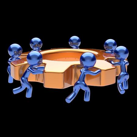 trabajo en equipo: Rueda dentada de trabajo en equipo de proceso de negocios trabajo en equipo de los trabajadores hombres de cremallera, pasando comunidad rueda de engranaje en conjunto la cooperación caracteres de la fuerza laboral de asociación facilitar concepto 3D aislado en negro Foto de archivo
