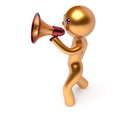 making an announcement: Man speaking bullhorn megaphone character making announcement news golden stylized human cartoon guy speaker person communication people yellow speaker figure icon concept 3d render isolated