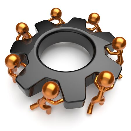 black business men: Teamwork partnership men characters team gear wheel business process workers turning cogwheel black gearwheel together cooperation relationship community make work easy concept 3d render isolated