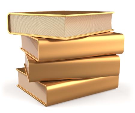 apilar: Libros de oro literatura pila de libros de texto en blanco amarillo faq manual de oro. Escuela de estudiar el contenido de la información a aprender cuestión icono biblioteca respuesta concepto. 3d render aislado en blanco