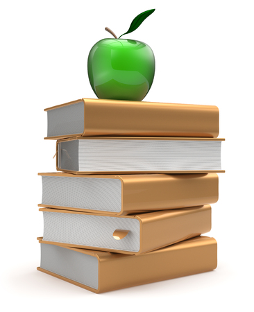 erudition: Books textbooks stack literature golden yellow studying apple green education reading learning school library knowledge idea icon concept. 3d render isolated on white