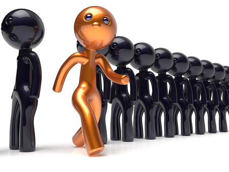 differ: Different man character individuality unusual people unique guy stand out from the crowd brave think differ person otherwise run to new opportunities concept human resources icon 3d render isolated