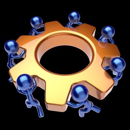 black business men: Partnership workforce men characters gear wheel teamwork cogwheel business process team work workers turning gearwheel together cooperation community make easy concept 3d render isolated on black Stock Photo