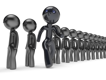 run out: Stand out from crowd unusual man different people giant character black think differ unique person otherwise run to new opportunities concept individuality vote icon 3d render isolated