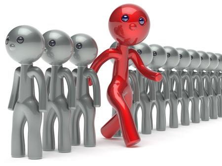multitud gente: Individualidad inusuales diferentes personas del carácter del hombre de pie roja de la muchedumbre único think difieren persona por lo demás corre a nuevas oportunidades icono voto concepto referéndum 3d aislados Foto de archivo