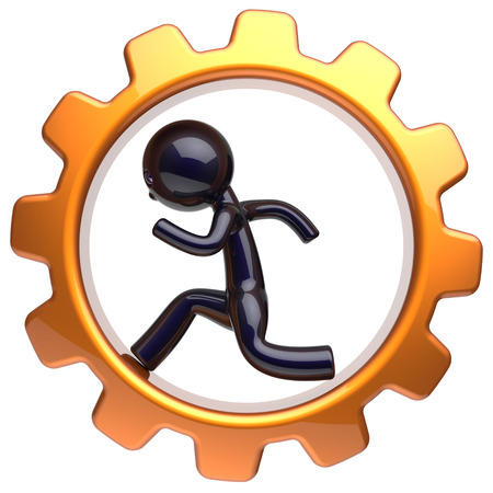 worker person: Business man character inside gearwheel running businessman rotate cogwheel stylized black human cartoon guy hamster person worker gear wheel career employment job hard concept. 3d render isolated