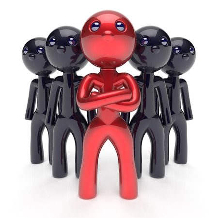 commander: Leadership character teamwork boss stylized red leader black men crowd businessman team leader individuality five cartoon persons icon social relationship friends concept 3d render isolated