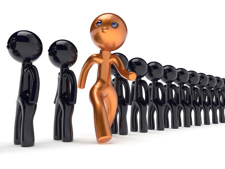 run out: Unique unusual guy different people individuality man character stand out from the crowd brave think differ person otherwise run to new opportunities concept human resources icon 3d render isolated