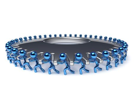 activism: Gear wheel human resources partnership teamwork workforce business process men turning cogwheel together blue silver. Team work cooperation manpower community activism concept 3d render isolated