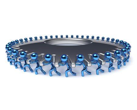 manpower: Gear wheel human resources partnership teamwork workforce business process men turning cogwheel together blue silver. Team work cooperation manpower community activism concept 3d render isolated