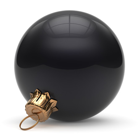 shiny christmas baubles: Christmas ball New Years Eve bauble wintertime decoration black sphere hanging adornment classic. Traditional winter ornament happy holidays Merry Xmas event symbol glossy blank. 3d render isolated Stock Photo